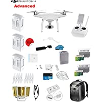 DJI Phantom 4 ADVANCED Quadcopter Drone with 1-inch 20MP 4K Camera KIT + 3 Total DJI Batteries + 2 64GB Micro SD Cards + Reader + Prop Guards + Range Extender + Charging Hub + Remote Harness+ Backpack