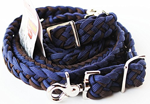 PRORIDER Roping Knotted Horse Tack Western Barrel Reins Nylon Braided Navy 60713