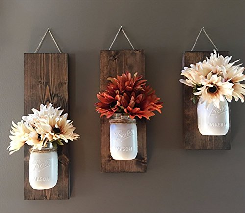 Floral Sconce (Rustic Wood Wall Sconce, Floral Wall Sconce Set, Mason Jar Wall Sconce)