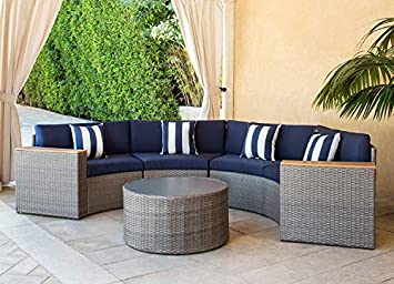 Solaura Outdoor 5-Piece Sectional Furniture Patio Half-Moon Set Gray Sofa Nautical Navy Blue Cushions Sophisticated Glass Coffee Table