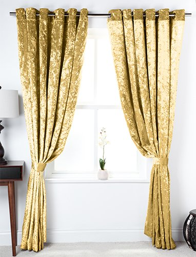 Chartreuse Crushed Velvet 66quot X 54quot Eyelet Curtains