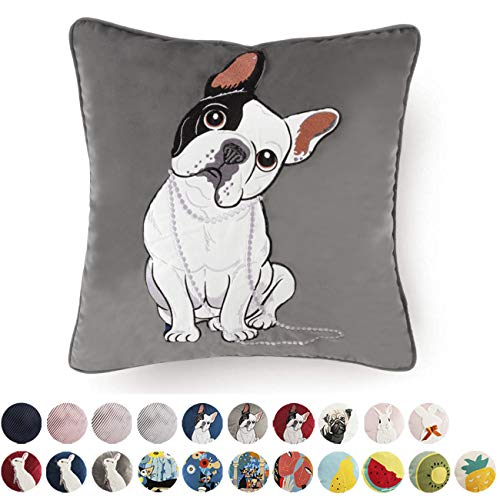 - Luxury Velvet Throw Pillow Covers Decorative Cute Dogs Square Cushion Cover for Sofa Couch Modern Bunny Pillowcases 18x18 Inch