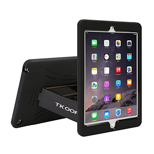TKOOFN Heavy Duty Silicon Defender Shell Military Shockproof Bumper Case Cover with Built in Stand for 2014 iPad Air 2+ Screen Protector + Stylus + Cleaning Cloth, Black/Black