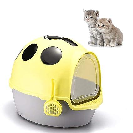 DJLOOKK Arenero Gato Caja de Arena para Gatos autolimpiante Coccinella Septempunctata en Forma de Inodoro Totalmente