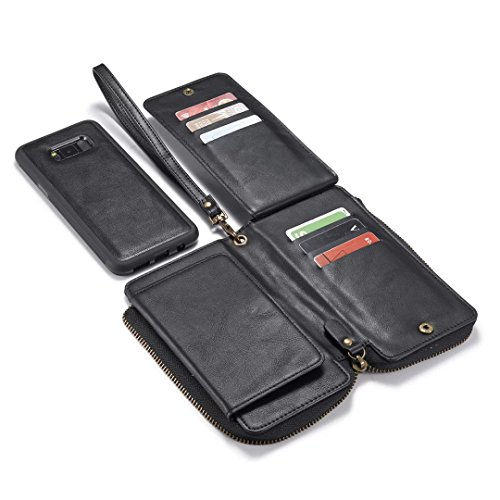 S8 Plus Case, Colel Premium Folio Zipper Wallet Purse Leather Detachable Magnetic Case 12 Card Slots Handbag with Wrist Strap Card Slots Stand Holder Case for Samsung Galaxy S8 Plus