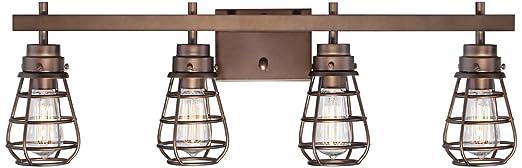 bendlin industrial 31 wide oil rubbed bronze bath light - Oil Rubbed Bronze Bathroom Lighting