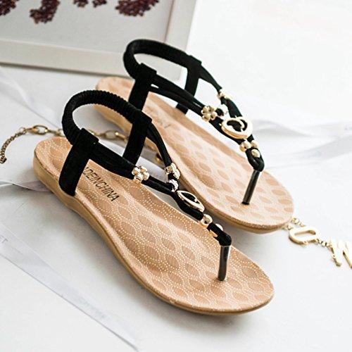 YOUJIA Mujeres Adornos de Metal Elegante T-Correa Bohemia Sandalias Verano Zapatos Planos #1 Negro