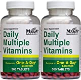 Daily Multiple Vitamins Compare To One A Day Essentials Multivitamin Multimineral Supplement 365 Tablets per Bottle Pack of 2 Total 730 Tablets
