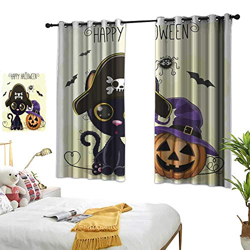 wwwhsl 90% Blackout Curtains for Bedroom Halloween Illustration of Cartoon Black cat Room Decoration Ideas W62.9 xL62.9]()