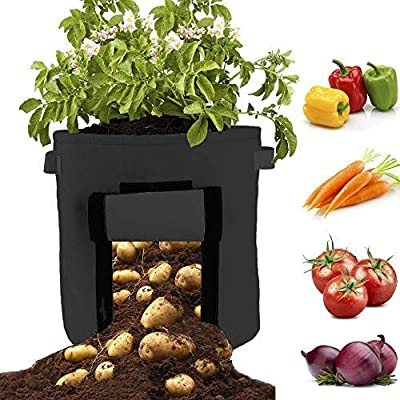 RZChome Potato Grow Bag 2 Packs Update Garden Vegetables Planter Bags Fabric Pots with Handles, 7 Gallon Potato Bag Planter Black : Garden & Outdoor