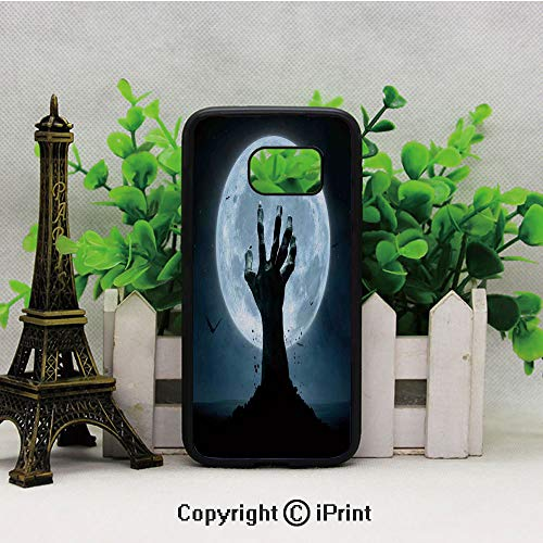 Zombie Earth Soil Full Moon Bat Horror Story October Twilight Themed 2D Printing of Samsung S7 Case Black Soft TPU and PC Protection Anti-Slippery Case for Samsung S7 Blue Black