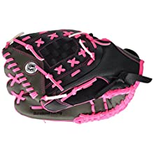 Franklin Sports Fast Pitch Series Left-Handed Fielding Glove, Pink/Gray/Black, 12-Inch