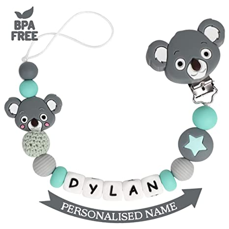 Cadena Chupetes Personalizado con Nombre Koala Mordedor Bebes ...