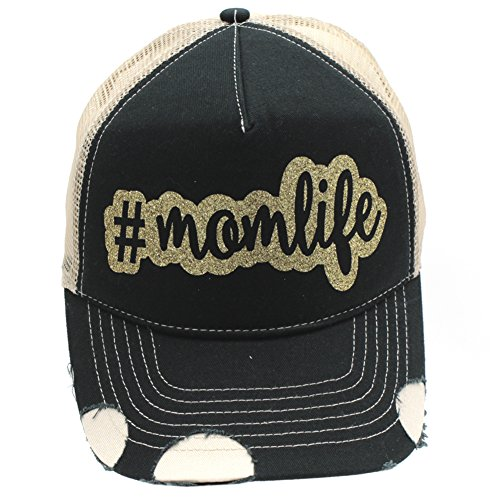 Mom Life Glittering Trucker Style baseball Cap Hat (Gold)