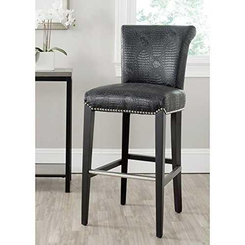 Safavieh Mercer Collection Seth Black Leather Adjustable 25.9-inch Bar Stool
