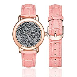 Clock Rose Gold Leather Strap Watch,Realistic Look Cogwheels Mechanism Gear Engineering and Technologic Themed Pattern Decorative for Woman,Case Diameter:1.4D