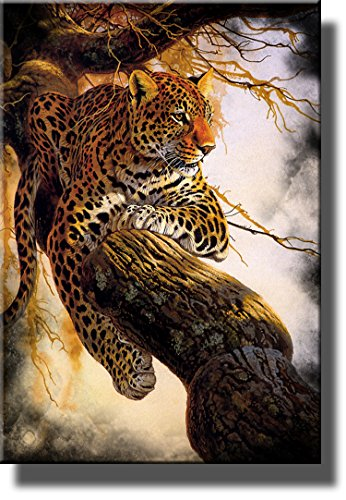 leopard on a tree wildlife by al agnew picture on stretched canvas wall art decor framed ready to hang - Safari Living Room Decor