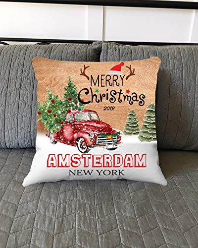 Halloween 2019 Amsterdam (Merry Christmas Amsterdam New York NY State 2019 - Home Decorations for Living Room, Couch Sofa Home Throw Pillow Covers 18x18 Inches - Hometown for Family,)