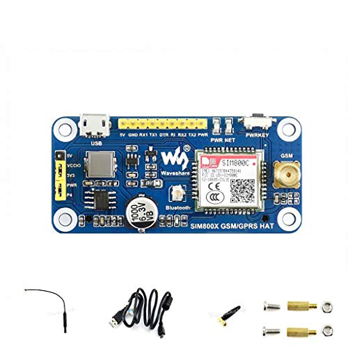 Waveshare Raspberry Pi GSM/GPRS/Bluetooth HAT Based on SIM800C Supports SMS, GPRS, DTMF, HTTP, FTP, MMS, email for Band GSM 850/EGSM 900/DCS Compatible with Pi 2B/3B/3B+/Zero/Zero W