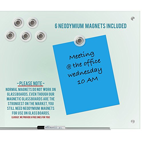 """Magnetic Glass Dry Erase Board Whiteboard 35 x 47"""" Large Clear Frameless Infinity Frosted Surface Aluminum Tray Bonus Eraser 4 Markers 6 Magnets Home School Office Classroom Supplies (35 x 47 inch) by Dapper Display (Image #4)"""