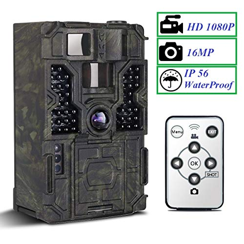 Trail Camera - PetElf 1080P 16MP Hunting Trail Game Camera Wildlife Monitoring Cam 48pcs IR LEDs Night Vision Motion Activated, 2.4 LCD Display 3 PIR Sensors 0.2s Trigger Speed 130° Detection