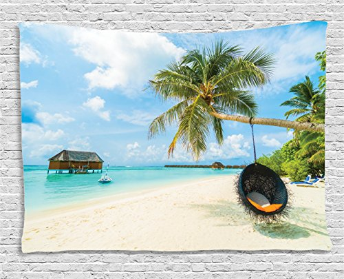 Exotic Tapestry - Ambesonne Ocean Decor Tapestry, Exotic Beach in The Maldives with Crystal Waters and Palm Trees on The Sand Tropical Decor, Wall Hanging for Bedroom Living Room Dorm, 80 W X 60 L Inches, Multicolor