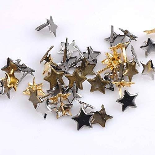 Spikes Accessories - 4 Color 50pcs Mixed Pastel Star Brad Embellishment Fastener Metal Craft Decoration 14mm Cp1513 - Rivet Punk Golden Gilded Gold Bimetallic Metallic
