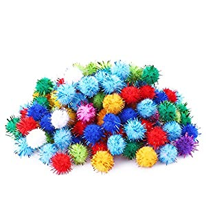 "Rimobul Standard 10 Colors Sparkle Balls My Cat's All Time Favorite Toy - 1.5"" - 100 Pack 119"