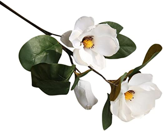 1 X Magnolia Floral Artificial Fake Flower Leaf Wedding Bouquet Party Home Decor