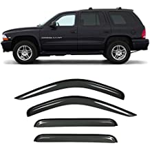 Gevog 4 Piece Side Window Deflector Window Visors for 98-03 Dodge Durango 00-04 Dodge Dakota Crew/Quad Cab Sun/Rain Guard Ventvisor