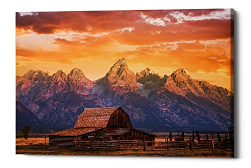 Epic Graffiti Sunrise on the Ranch by Darren White Giclee Canvas Wall Art, 40'' x 60'' by Epic Graffiti