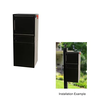 DVault Parcel Protector Vault DVU0050 Locking PostColumn Mount Mailbox  Black Column Mount Mailbox K0