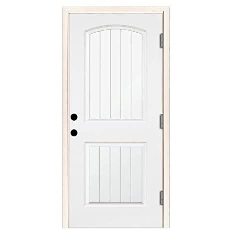Premium 2 Panel Plank Primed White Steel Entry Door With 32 In Left