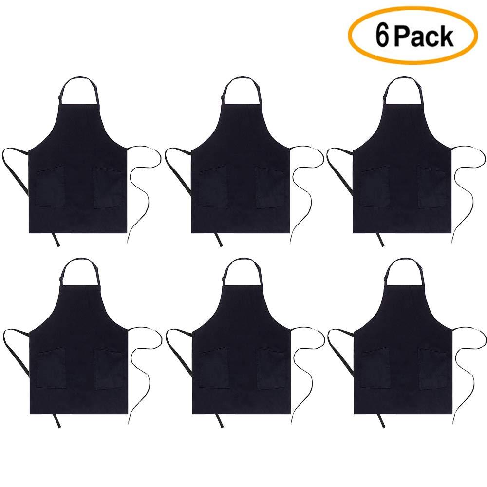 boharers 6パック調節可能な2ポケット防水耐久性快適なよだれかけエプロンお手入れ簡単料理キッチンエプロンレディースメンズのシェフブラック ブラック BAP-009-1-6  ブラック B07DD8TX7S