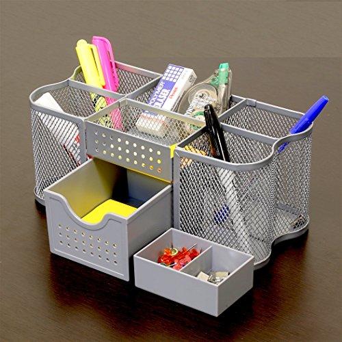 Decobros Desk Supplies Organizer Caddy Silver Buy