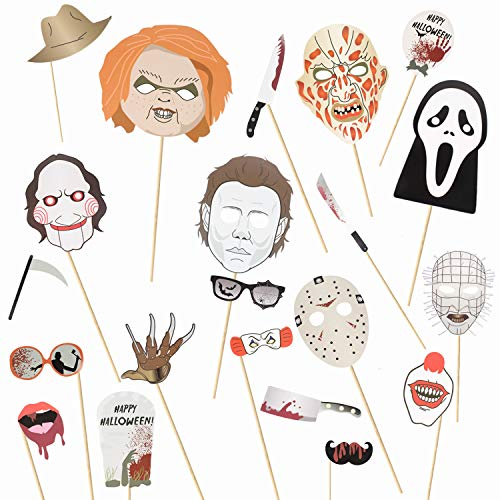 22 Pcs Halloween Photo Booth Props Sign Kit - Spooky Skull Mask Death Day Fiesta Décor - Autumn Fall Friday 13th Halloween Selfie Dress-up Props Decoration]()