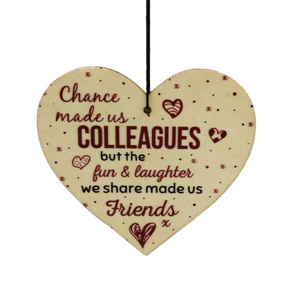 Amaping Chance Made Us Colleagues Letter Print Sweet Heart Hanging Pendant Plaque Sign Friendship FRIEND Gift Thank You Leaving Gift Souvenir (Khaki)