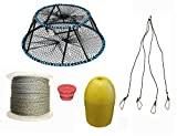 KUFA Sports Tower Style Prawn trap with 400' rope, Yellow float, Vented Bait Jar & Harness combo (CT130+PAL3+HA5)