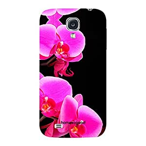 HomeSoGood Beautiful Flowers Black 3D Mobile Case For Samsung S4 ( Back Cover)