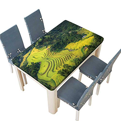 PINAFORE Decorative Tablecloth Rice Fields on terraced of Hoang su phi Country ha Giang Table Cover for Dining Room and Party W45 x L84.5 INCH (Elastic -