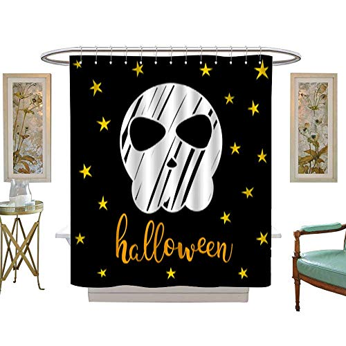 Iuvolux Fabric Shower Curtain Happy Halloween Card Template 9. Mildew Resistant Waterproof Standard Shower W108 x H72 Inch