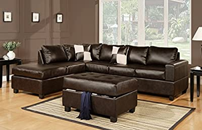 3 Piece Modern Bonded Leather Sectional Sofa Living Room Set with Ottoman - Espresso, White