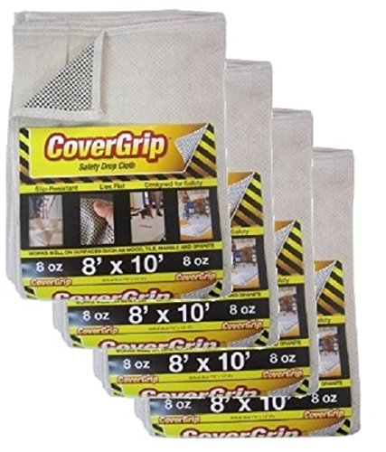 CoverGrip 081008-C 8 Oz Canvas SAFETY Drop Cloth, 8' x 10', (Pack Of 4),