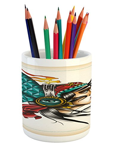 Lunarable Trippy Art Pencil Pen Holder, Ethnic Gypsy Woman Portrait with Psychedelic Head Ornaments Third Eye Candle, Printed Ceramic Pencil Pen Holder for Desk Office Accessory, Multicolor