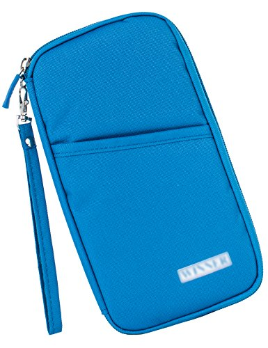 Travel Document Wallet With Hand Strap (Blue) - 4