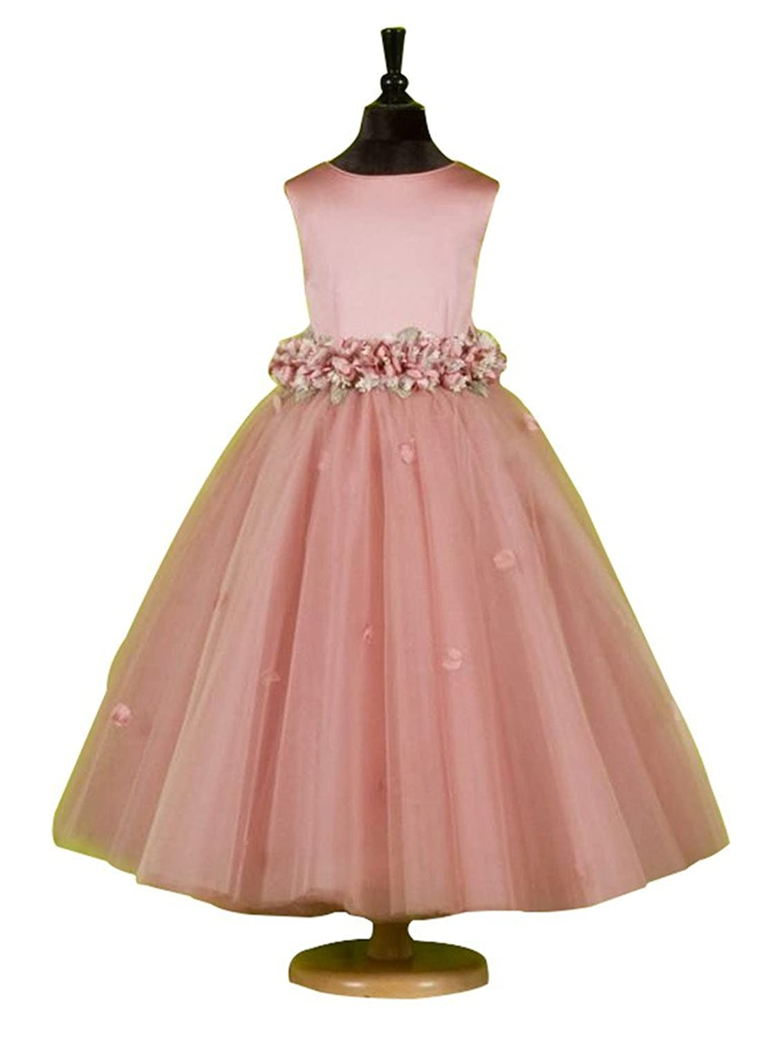 CLOCOLOR Girl's A-line Tulle Round Neckline Ankle Length Waist Flower Girl Dress for Weddings