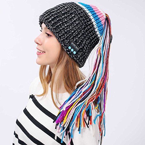 hot sale Wireless Bluetooth Beanie Hat Colorful Knit Headphone Music Winter Hat with Ponytail