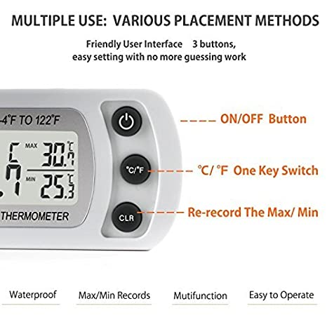 Unigear Term/ómetro Digital De Frigor/ífico Temperatura Maxima Y Minima Cocina Blanco * 2