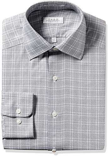 Enro Men's Cartwright Check Non-Iron Tailored Fit Dress Shirt, Charcoal, 175 x 38/39