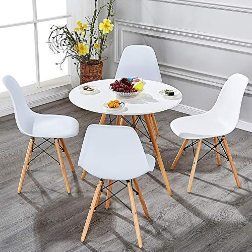VECELO Mid Century Modern Style Side Chairs with Natural Wood Legs (Set of 4) Easy Assemble for Kitchen Dining, Living Room,Bedroom, Standard, White by VECELO (Image #5)